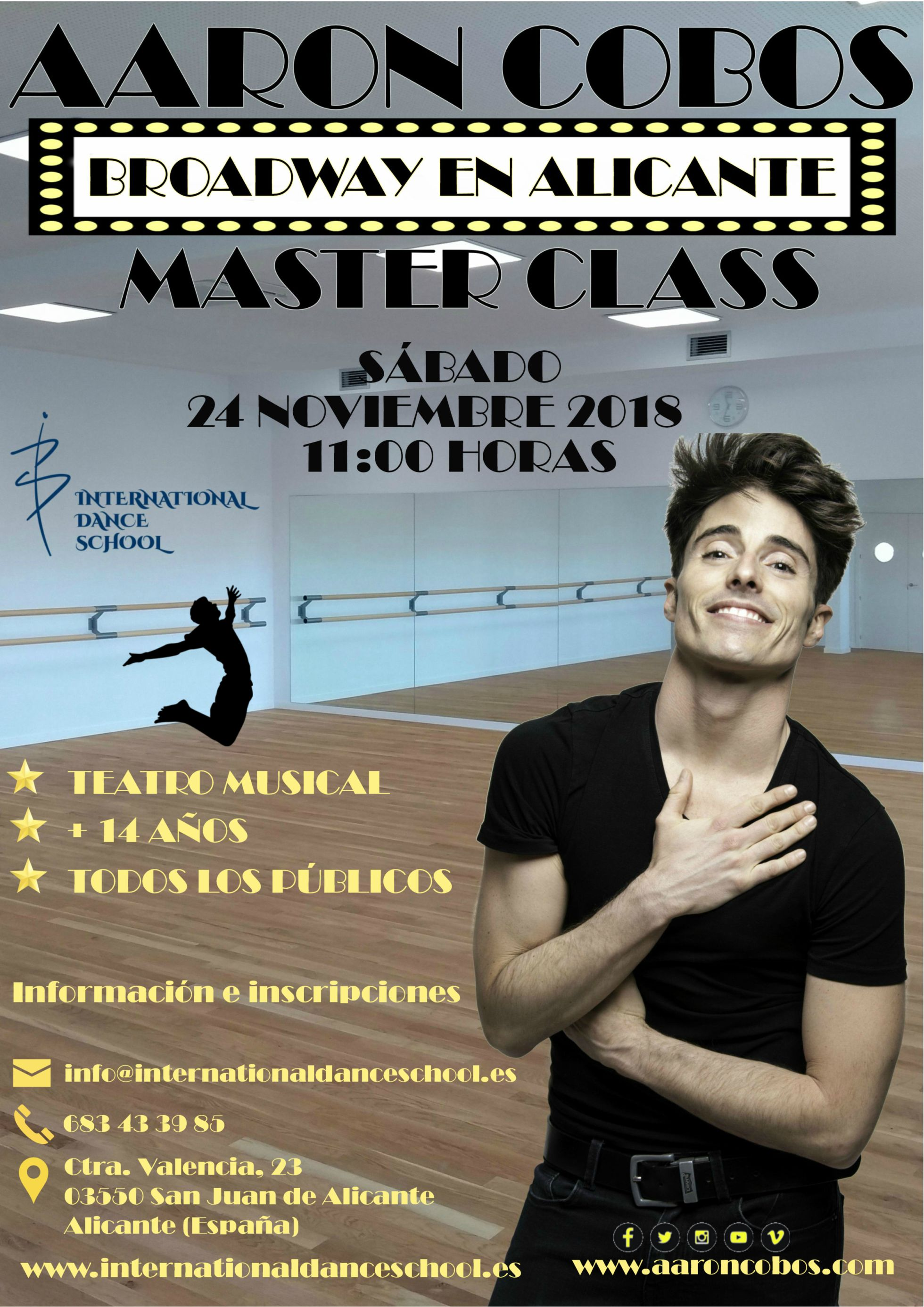master class aaron cobos danza baile urban clásica española contemporánea teatro musical international dance school alicante cartel