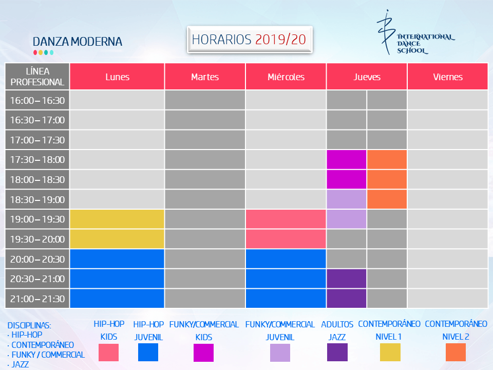 horarios danza moderna escuela internacional de danza international dance school alicante 2018 2019