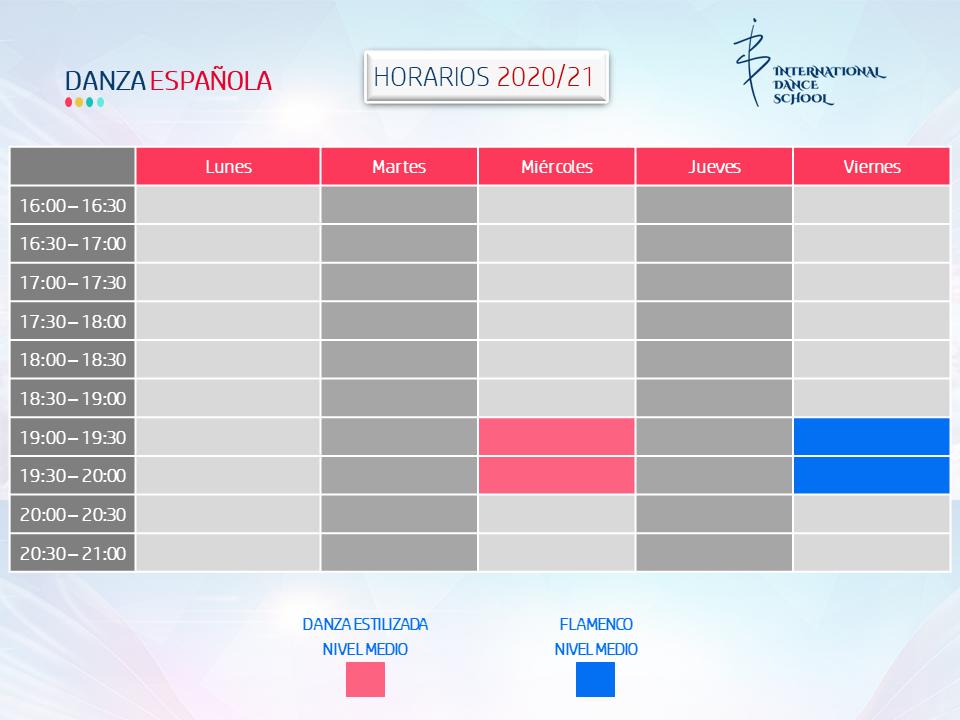 horarios danza española profesional escuela internacional de danza international dance school alicante 2020 2021 v1