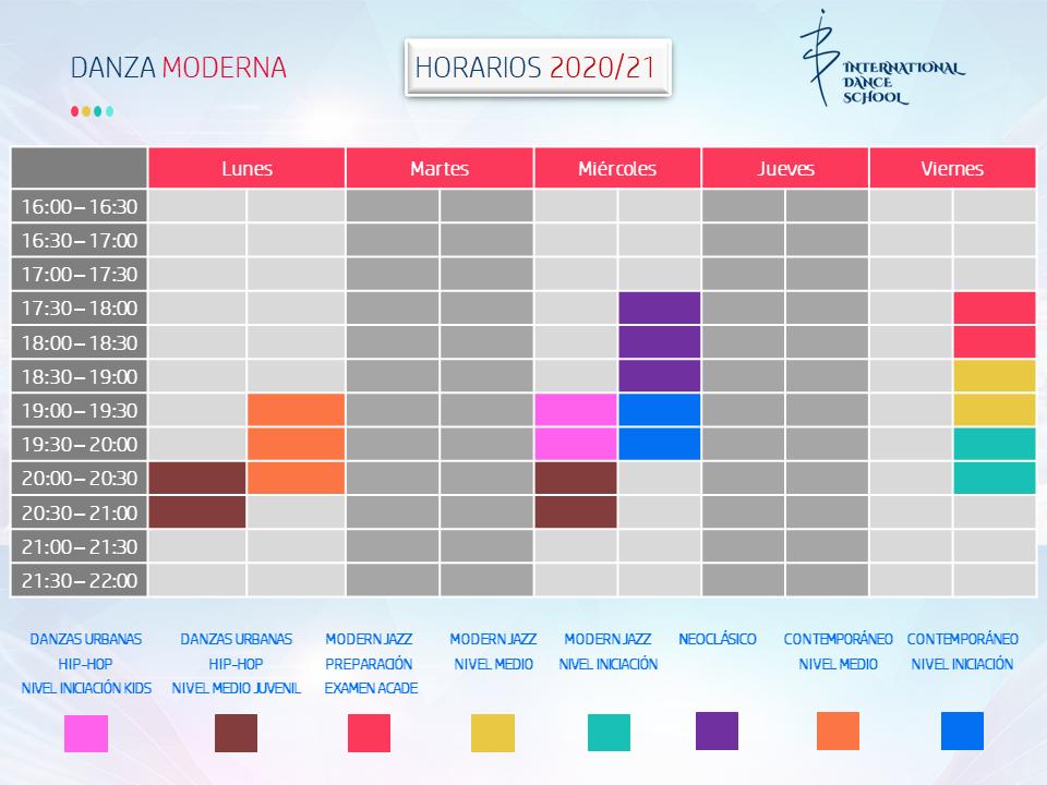 horarios danza moderna profesional escuela internacional de danza international dance school alicante 2020 2021 v1