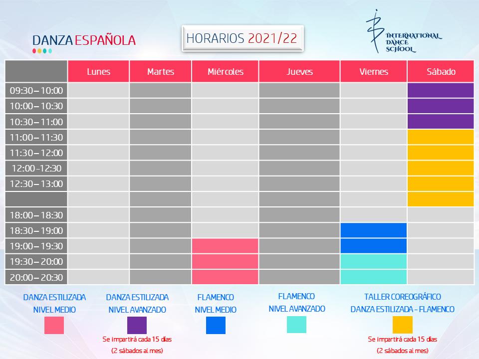 horarios danza española profesional escuela internacional de danza international dance school alicante 2021 2022 v1