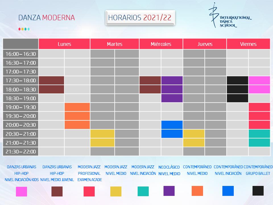 horarios danza moderna profesional escuela internacional de danza international dance school alicante 2021 2022 v1
