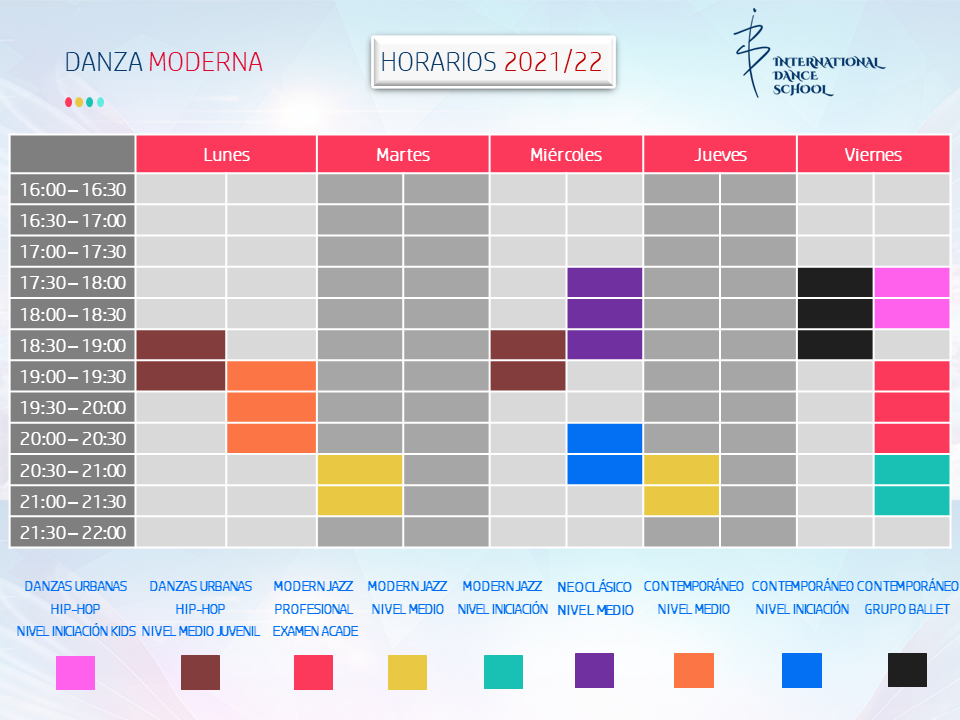horarios danza moderna profesional escuela internacional de danza international dance school alicante 2021 2022 v2